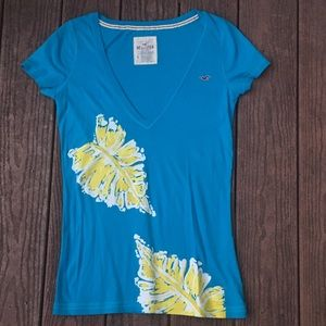 Hollister Deep V Blue Cute Yellow Leaf size L